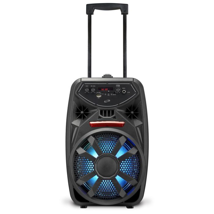 iLive (ISB380B) Bluetooth Tailgate Party Speaker front view with lights on and handle extended